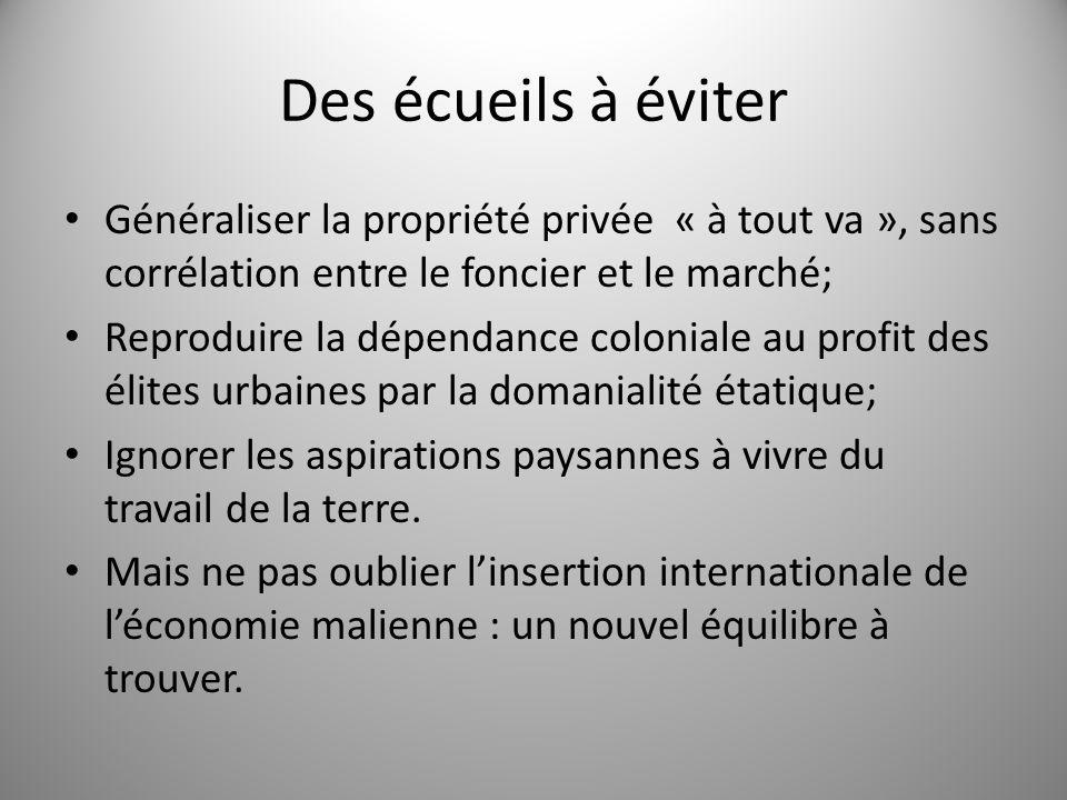 Des écueils à éviter Généraliser la propriété privée « à tout va », sans corrélation entre le foncier et le marché; Reproduire la dépendance coloniale