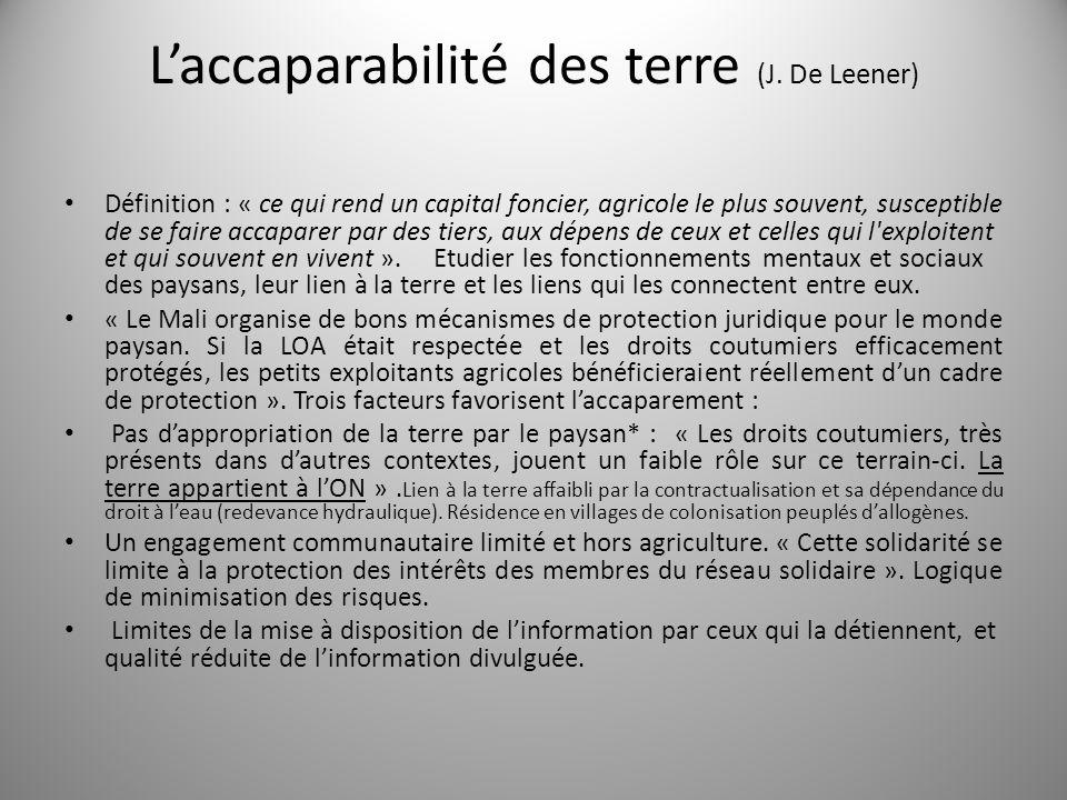 Laccaparabilité des terre (J. De Leener) Définition : « ce qui rend un capital foncier, agricole le plus souvent, susceptible de se faire accaparer pa