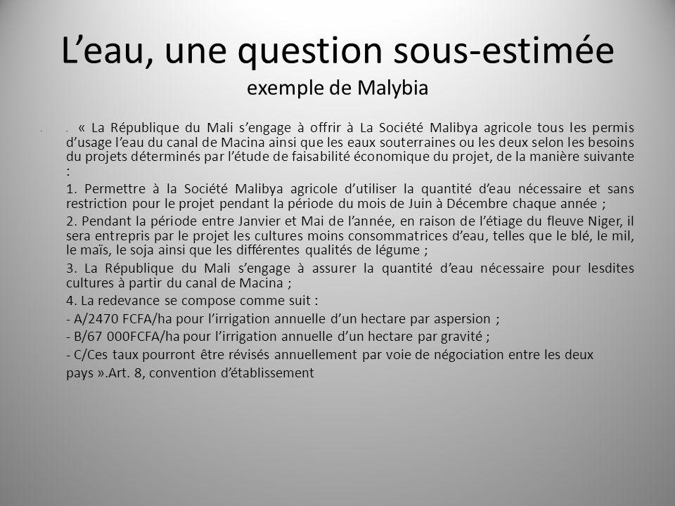Leau, une question sous-estimée exemple de Malybia « « La République du Mali sengage à offrir à La Société Malibya agricole tous les permis dusage lea