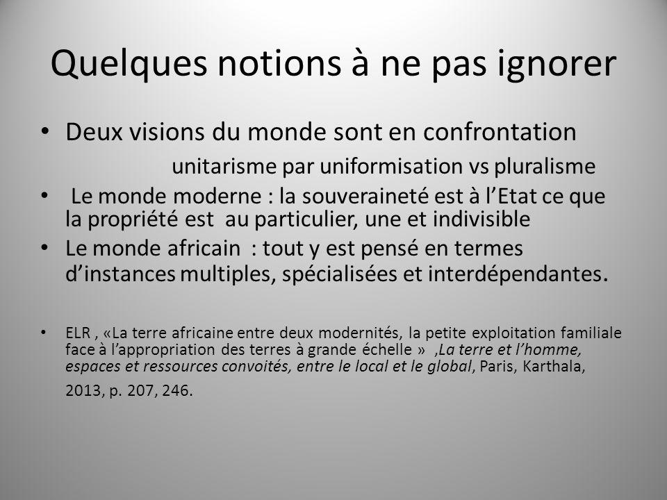 Quelques notions à ne pas ignorer Deux visions du monde sont en confrontation unitarisme par uniformisation vs pluralisme Le monde moderne : la souver