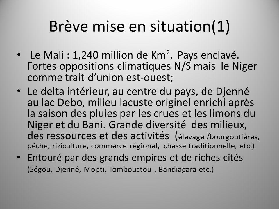 Brève mise en situation(1) Le Mali : 1,240 million de Km 2. Pays enclavé. Fortes oppositions climatiques N/S mais le Niger comme trait dunion est-oues