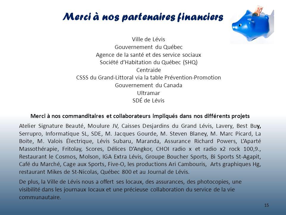 Merci à nos partenaires financiers Ville de Lévis Gouvernement du Québec Agence de la santé et des service sociaux Société dHabitation du Québec (SHQ)