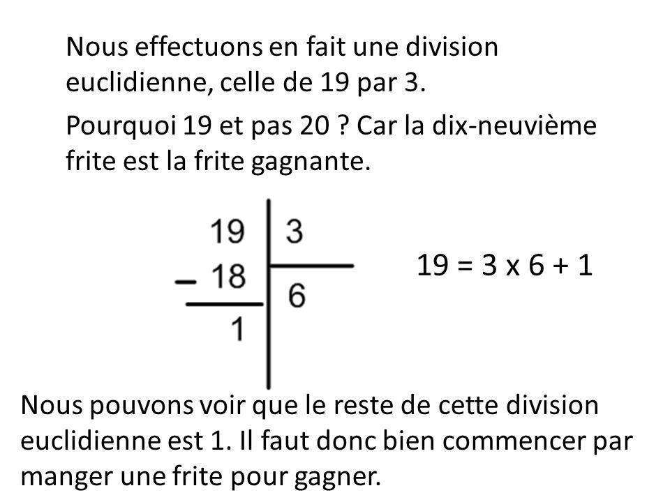 Nous effectuons en fait une division euclidienne, celle de 19 par 3. Pourquoi 19 et pas 20 ? Car la dix-neuvième frite est la frite gagnante. 19 = 3 x