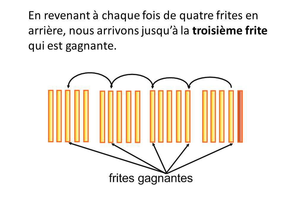 En revenant à chaque fois de quatre frites en arrière, nous arrivons jusquà la troisième frite qui est gagnante.