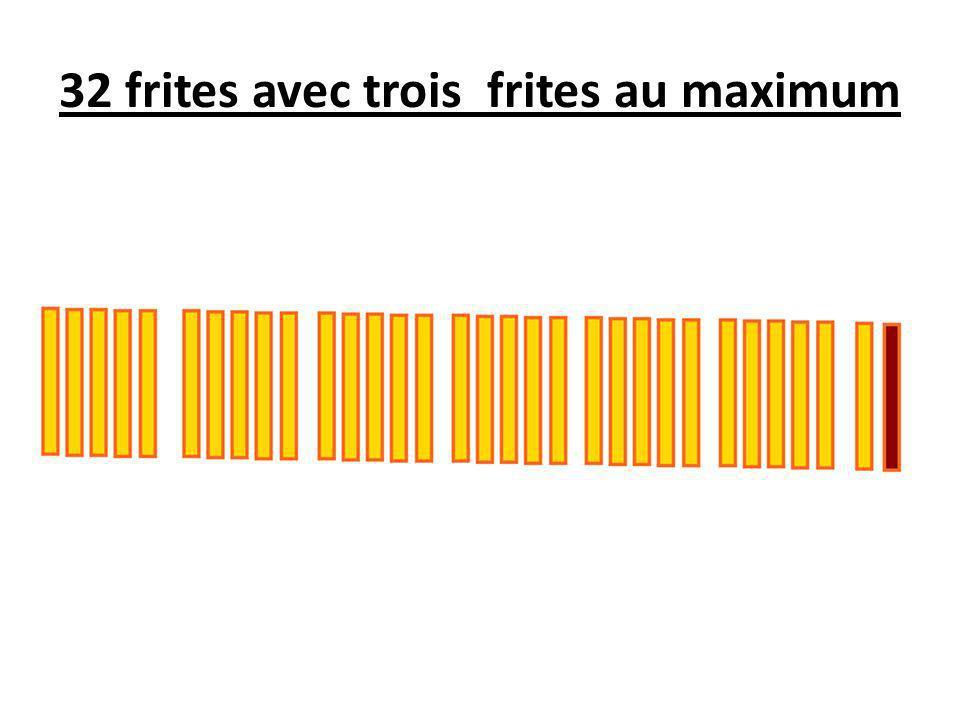 32 frites avec trois frites au maximum