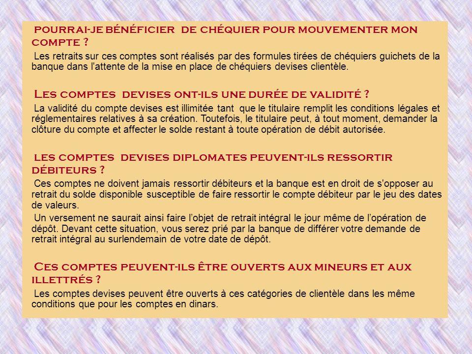 Quelles sont les conditions tarifaires d arrêté des comptes devises diplomates .