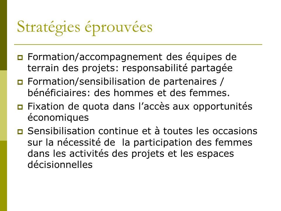 Stratégies éprouvées Formation/accompagnement des équipes de terrain des projets: responsabilité partagée Formation/sensibilisation de partenaires / bénéficiaires: des hommes et des femmes.