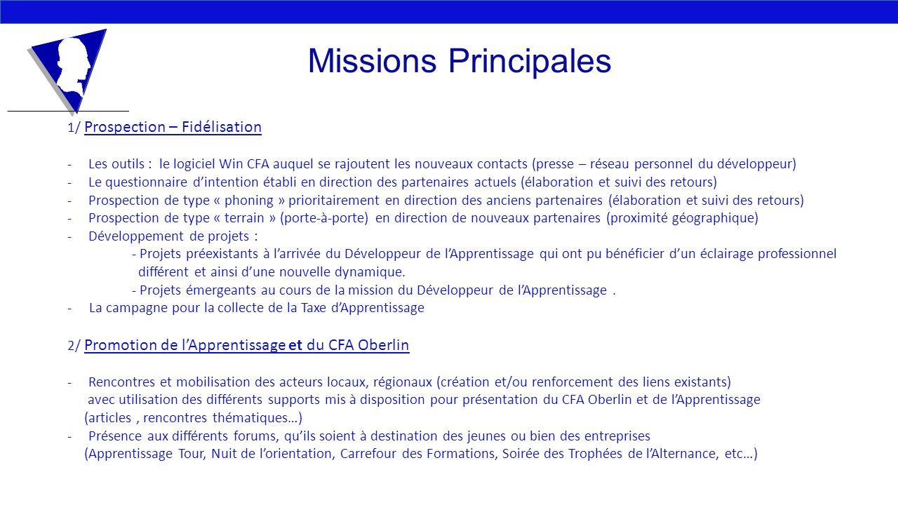 Missions Principales 1/ Prospection – Fidélisation -Les outils : le logiciel Win CFA auquel se rajoutent les nouveaux contacts (presse – réseau person