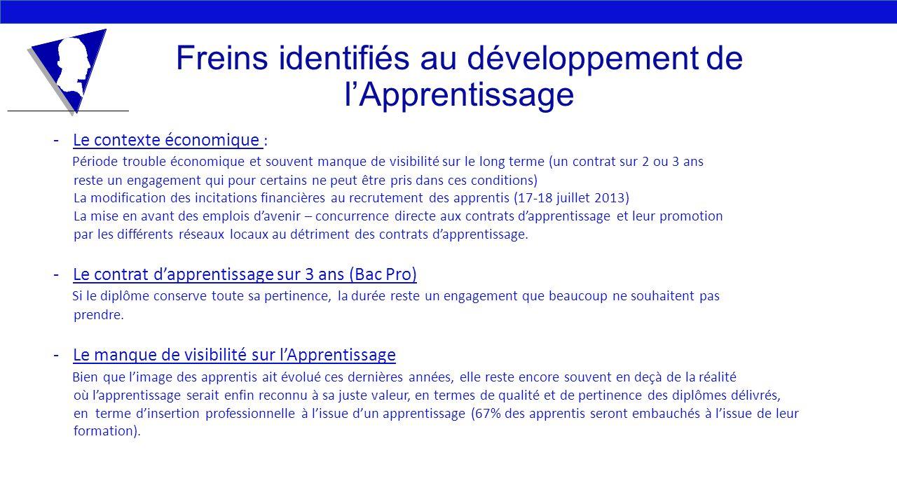 Freins identifiés au développement de lApprentissage -Le contexte économique : Période trouble économique et souvent manque de visibilité sur le long