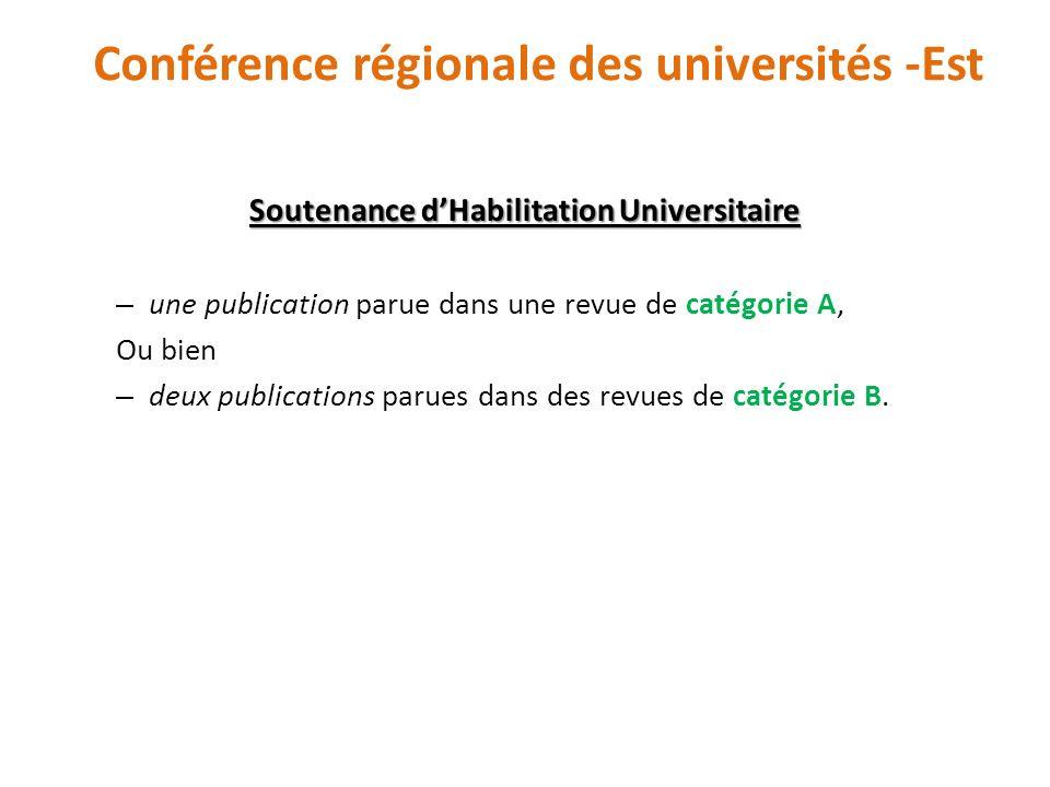 Soutenance dHabilitation Universitaire – une publication parue dans une revue de catégorie A, Ou bien – deux publications parues dans des revues de ca