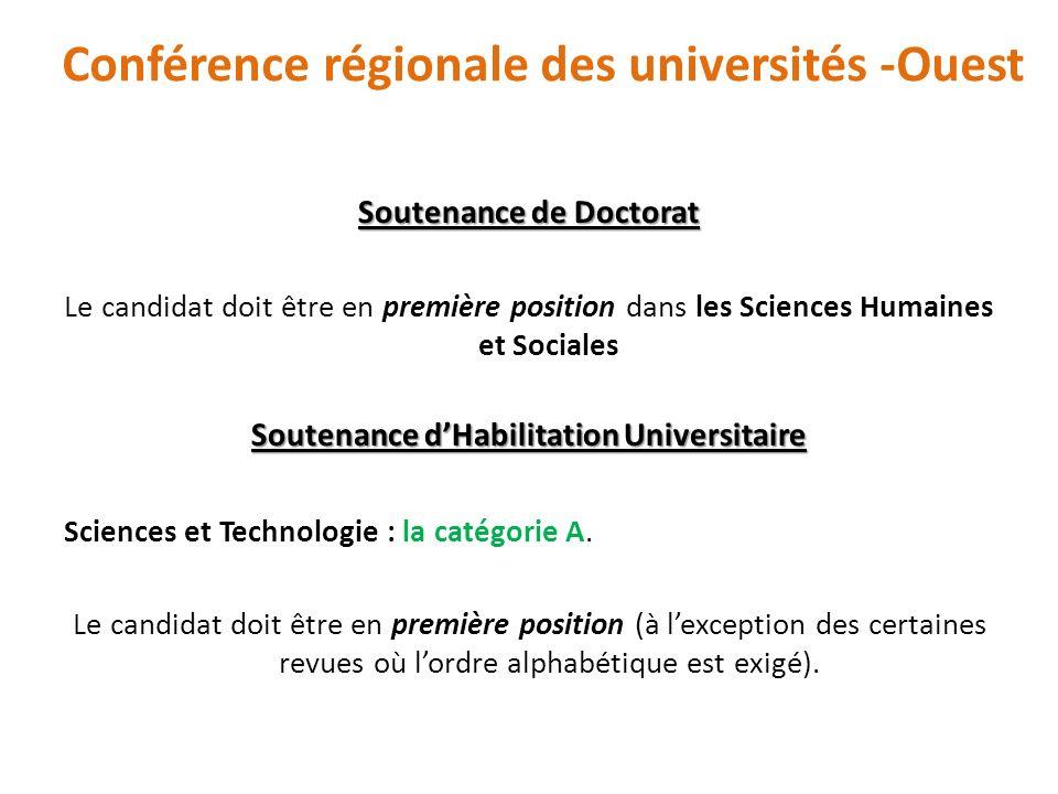 Soutenance de Doctorat Le candidat doit être en première position dans les Sciences Humaines et Sociales Soutenance dHabilitation Universitaire Scienc