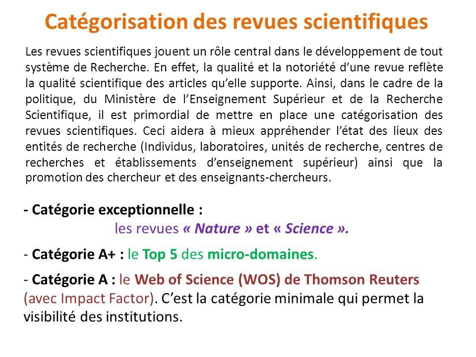 Les revues scientifiques jouent un rôle central dans le développement de tout système de Recherche. En effet, la qualité et la notoriété dune revue re