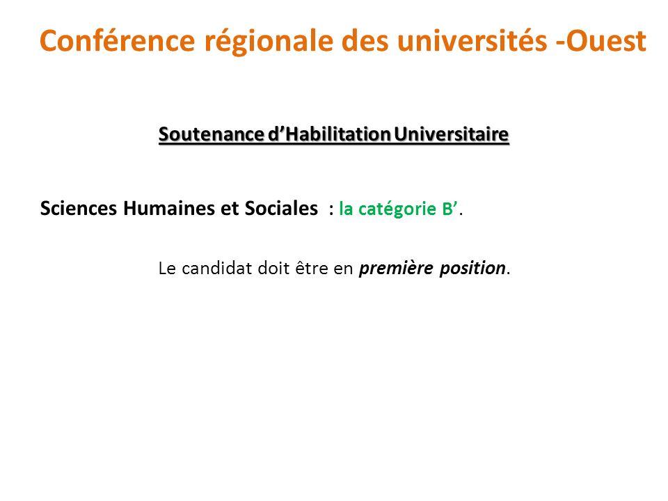 Soutenance dHabilitation Universitaire Sciences Humaines et Sociales : la catégorie B. Le candidat doit être en première position. Conférence régional