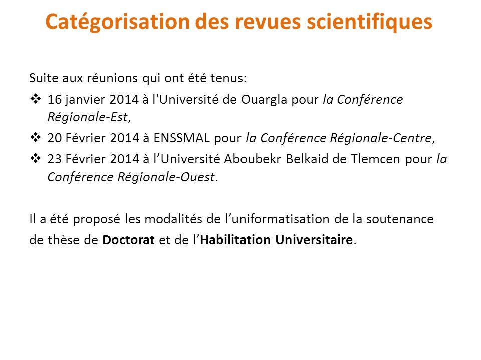 Suite aux réunions qui ont été tenus: 16 janvier 2014 à l'Université de Ouargla pour la Conférence Régionale-Est, 20 Février 2014 à ENSSMAL pour la Co