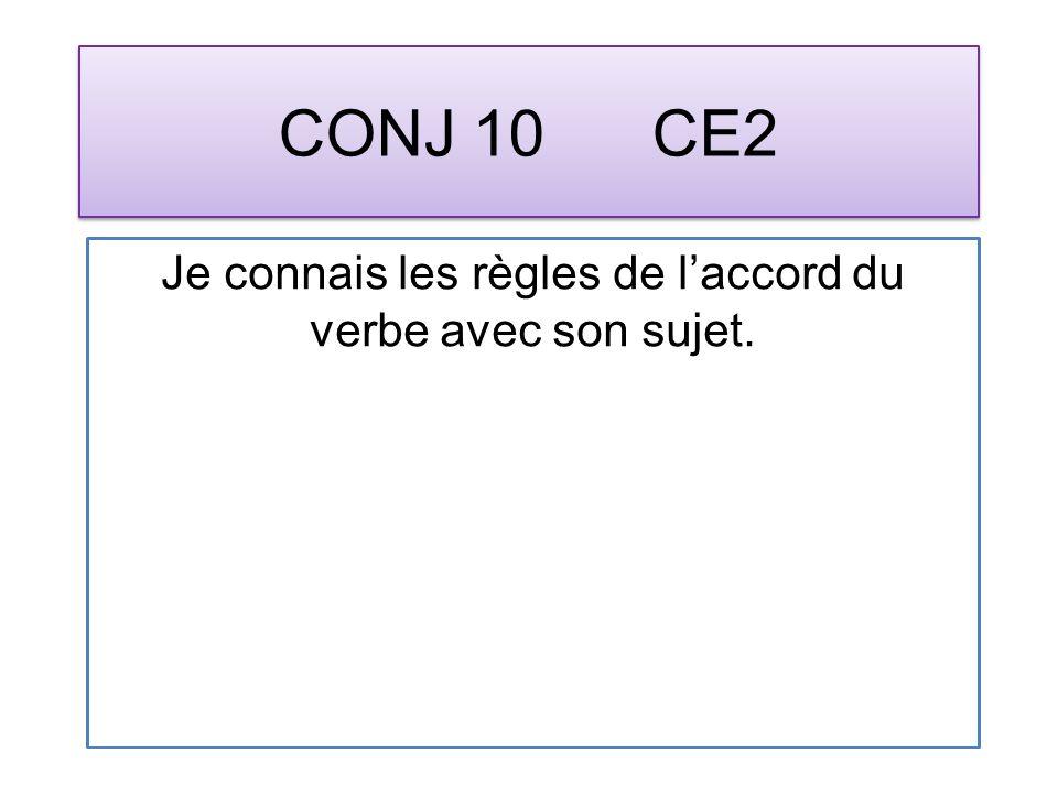 CONJ 10 CE2 Je connais les règles de laccord du verbe avec son sujet.
