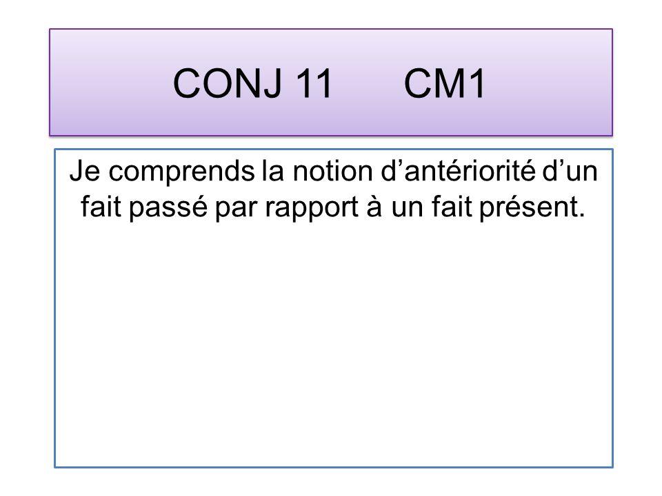 CONJ 11 CM1 Je comprends la notion dantériorité dun fait passé par rapport à un fait présent.