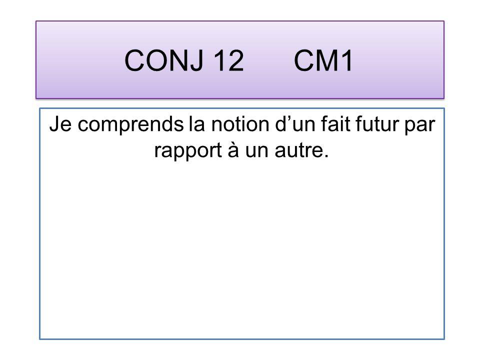 CONJ 12 CM1 Je comprends la notion dun fait futur par rapport à un autre.
