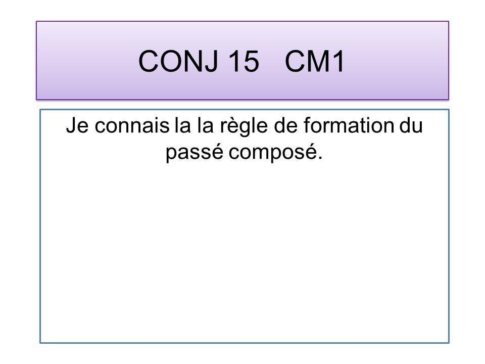 CONJ 15 CM1 Je connais la la règle de formation du passé composé.