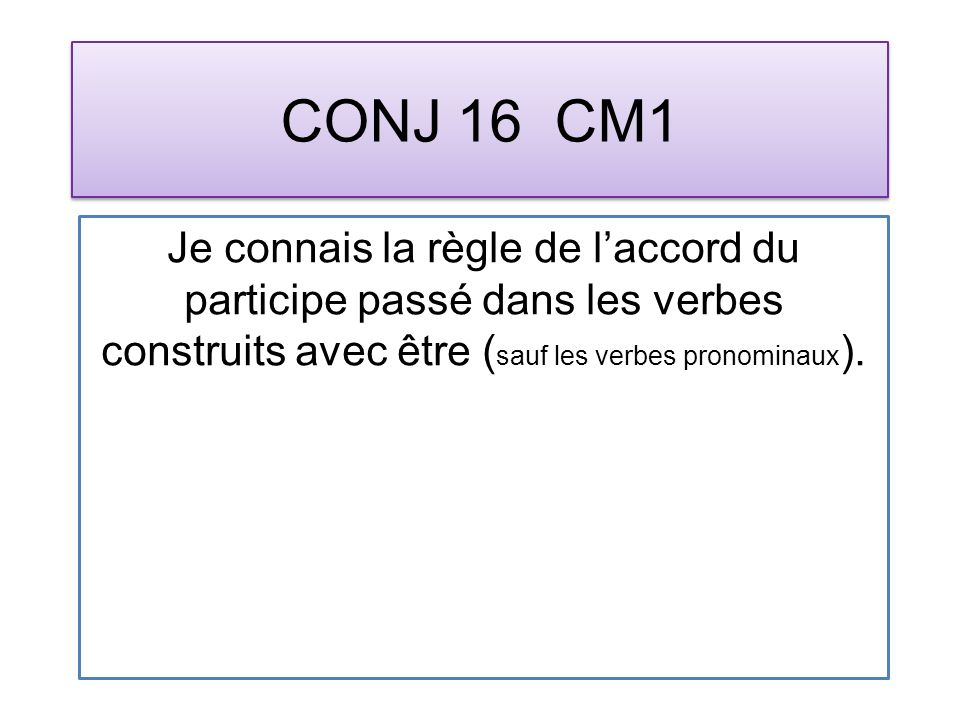 CONJ 16 CM1 Je connais la règle de laccord du participe passé dans les verbes construits avec être ( sauf les verbes pronominaux ).