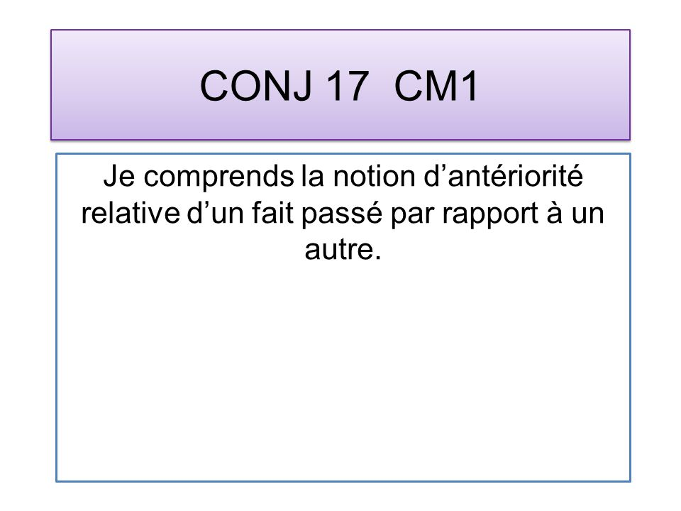 CONJ 17 CM1 Je comprends la notion dantériorité relative dun fait passé par rapport à un autre.