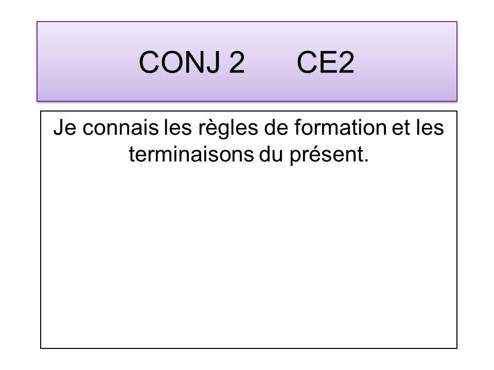 CONJ 2 CE2 Je connais les règles de formation et les terminaisons du présent.