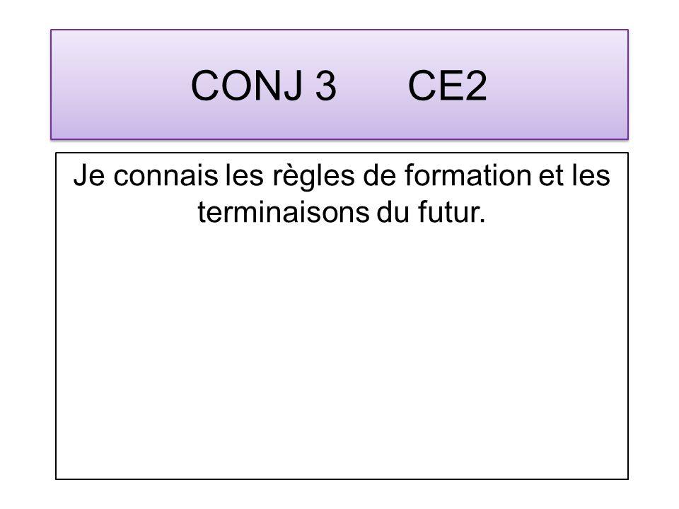 CONJ 3 CE2 Je connais les règles de formation et les terminaisons du futur.