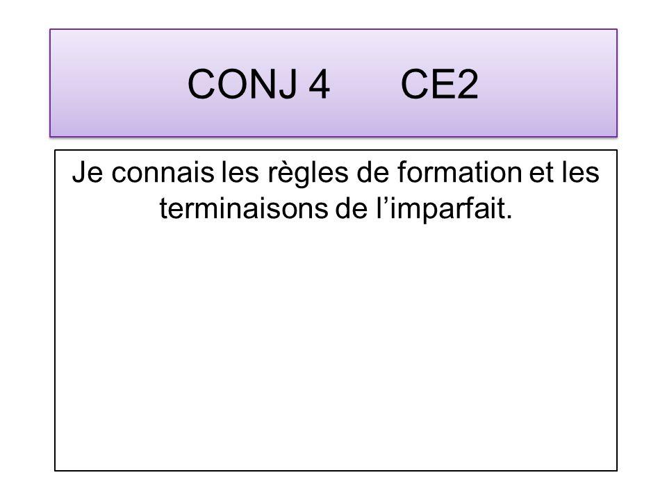CONJ 4 CE2 Je connais les règles de formation et les terminaisons de limparfait.