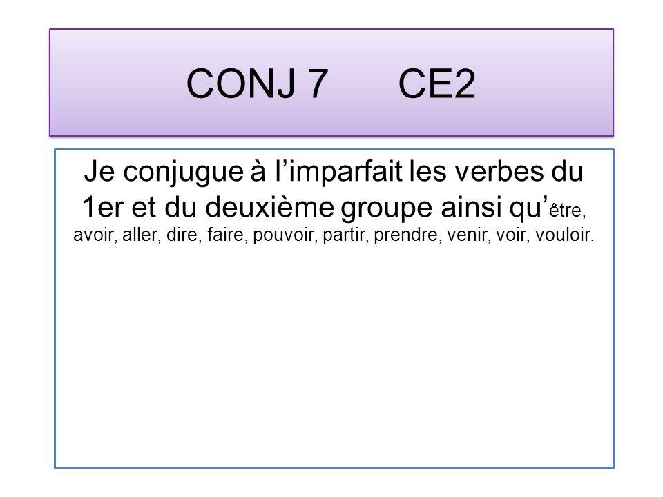 CONJ 7 CE2 Je conjugue à limparfait les verbes du 1er et du deuxième groupe ainsi qu être, avoir, aller, dire, faire, pouvoir, partir, prendre, venir, voir, vouloir.