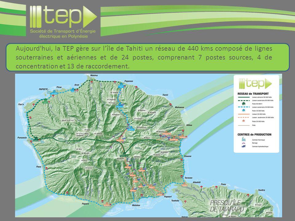 Aujourd hui, la TEP gère sur lîle de Tahiti un réseau de 440 kms composé de lignes souterraines et aériennes et de 24 postes, comprenant 7 postes sources, 4 de concentration et 13 de raccordement.