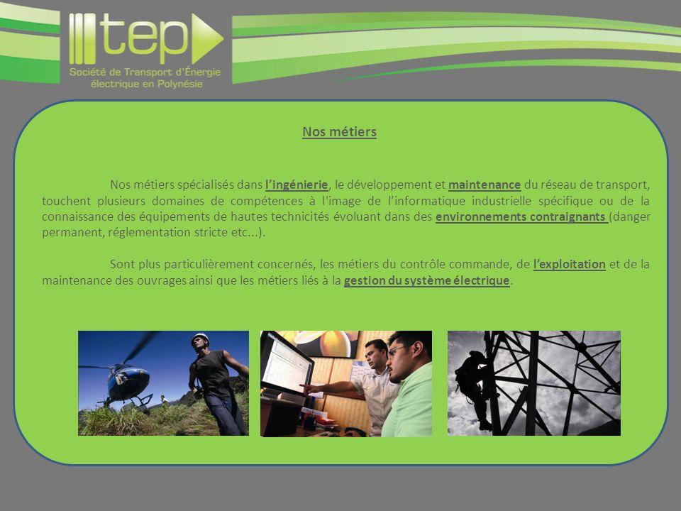 Nos métiers Nos métiers spécialisés dans lingénierie, le développement et maintenance du réseau de transport, touchent plusieurs domaines de compétenc