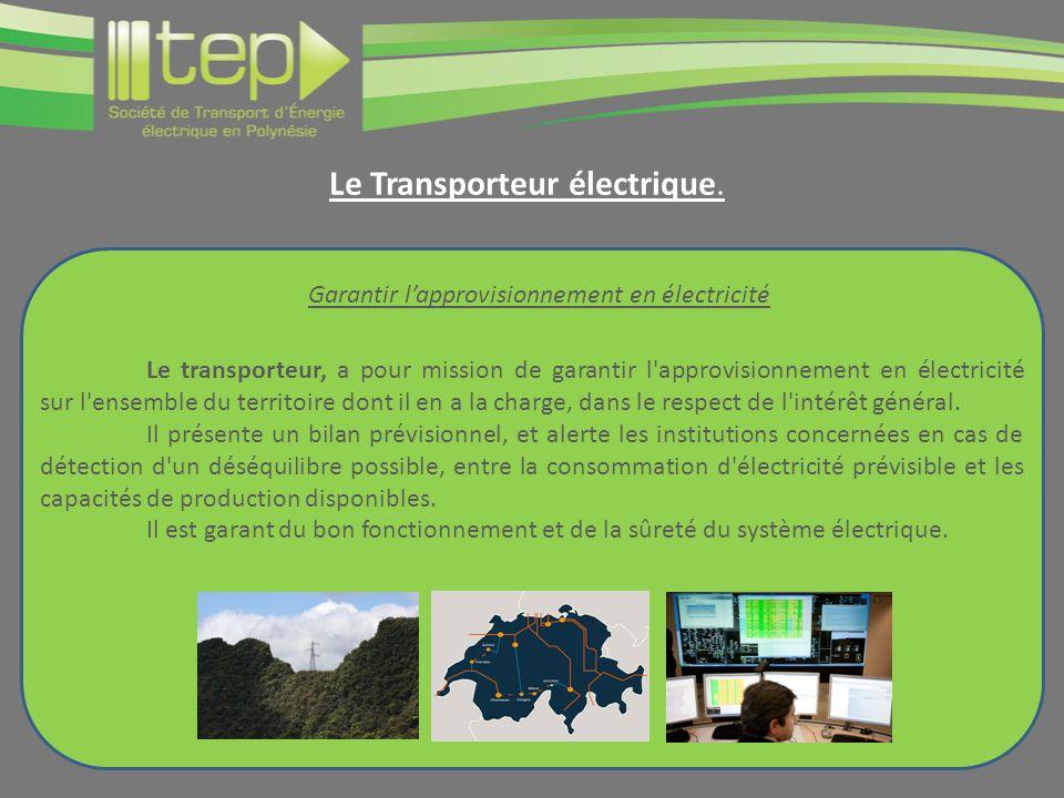 Le transporteur, a pour mission de garantir l approvisionnement en électricité sur l ensemble du territoire dont il en a la charge, dans le respect de l intérêt général.