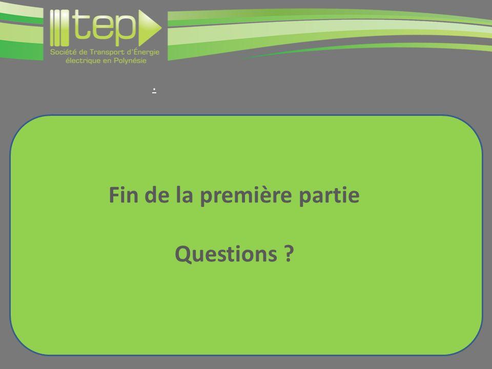 Fin de la première partie Questions ?.