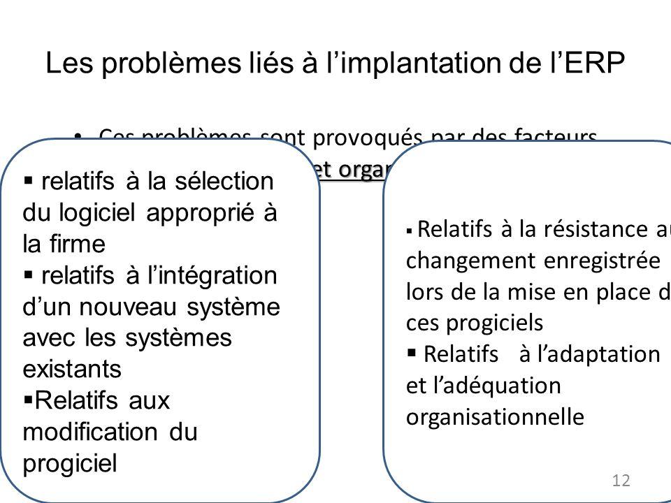 Les problèmes liés à limplantation de lERP techniques et organisationnels Ces problèmes sont provoqués par des facteurs techniques et organisationnels