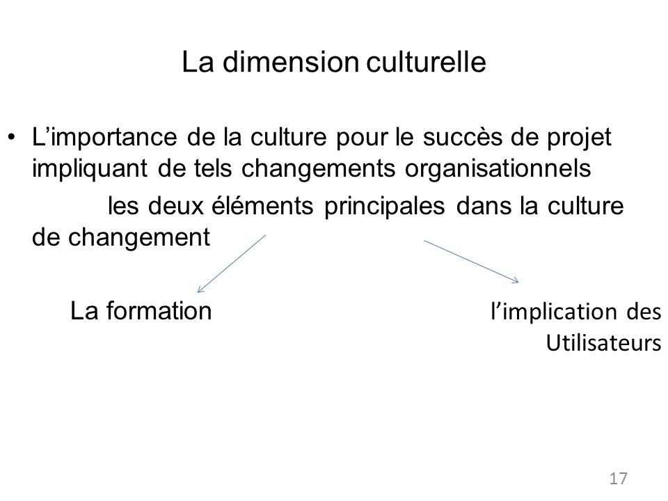 La dimension culturelle Limportance de la culture pour le succès de projet impliquant de tels changements organisationnels les deux éléments principales dans la culture de changement La formation limplication des Utilisateurs 17