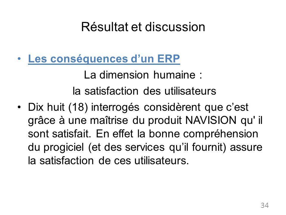 Résultat et discussion Les conséquences dun ERP La dimension humaine : la satisfaction des utilisateurs Dix huit (18) interrogés considèrent que cest grâce à une maîtrise du produit NAVISION qu il sont satisfait.