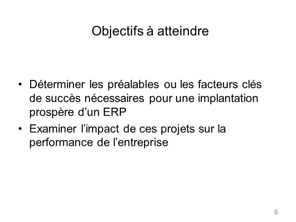 Objectifs à atteindre Déterminer les préalables ou les facteurs clés de succès nécessaires pour une implantation prospère dun ERP Examiner limpact de ces projets sur la performance de lentreprise 6
