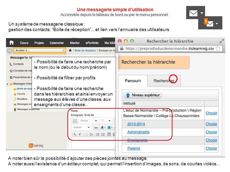 Une messagerie simple dutilisation Accessible depuis le tableau de bord ou par le menu personnel : Un système de messagerie classique : gestion des contacts, Boite de réception...