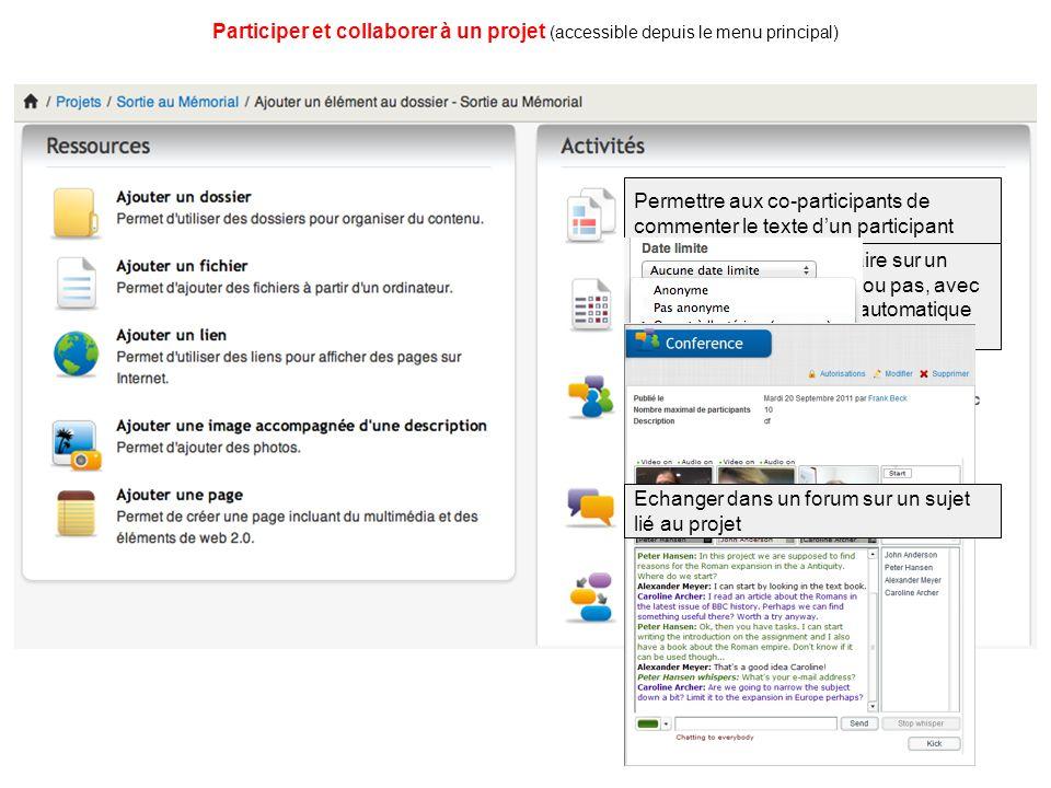 Participer et collaborer à un projet (accessible depuis le menu principal) Permettre aux co-participants de commenter le texte dun participant Soumettre un questionnaire sur un sujet, de façon anonyme ou pas, avec un traitement statistique automatique des données collectées Echanger dans un forum sur un sujet lié au projet
