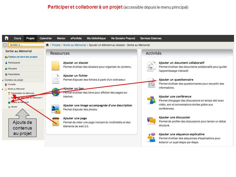 Participer et collaborer à un projet (accessible depuis le menu principal) Ajouts de contenus au projet