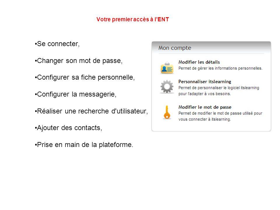 Votre premier accès à lENT Se connecter, Changer son mot de passe, Configurer sa fiche personnelle, Configurer la messagerie, Réaliser une recherche d utilisateur, Ajouter des contacts, Prise en main de la plateforme.