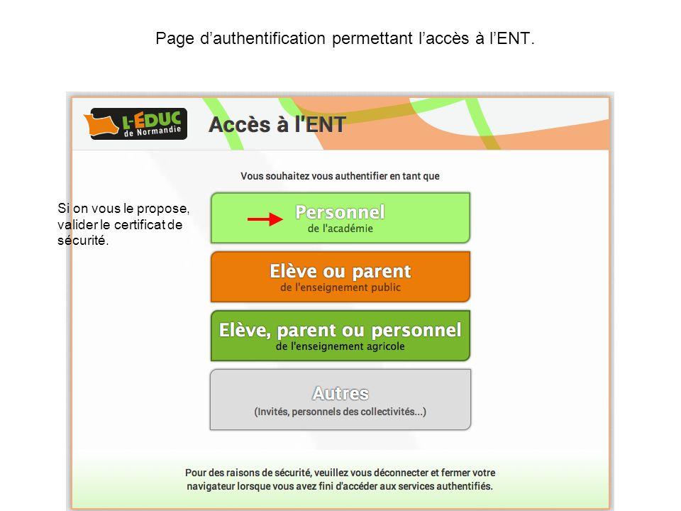 Page dauthentification permettant laccès à lENT.