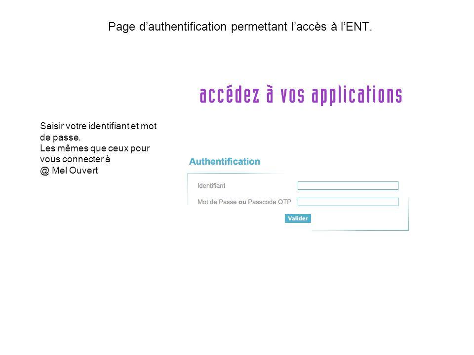 Page dauthentification permettant laccès à lENT.Saisir votre identifiant et mot de passe.