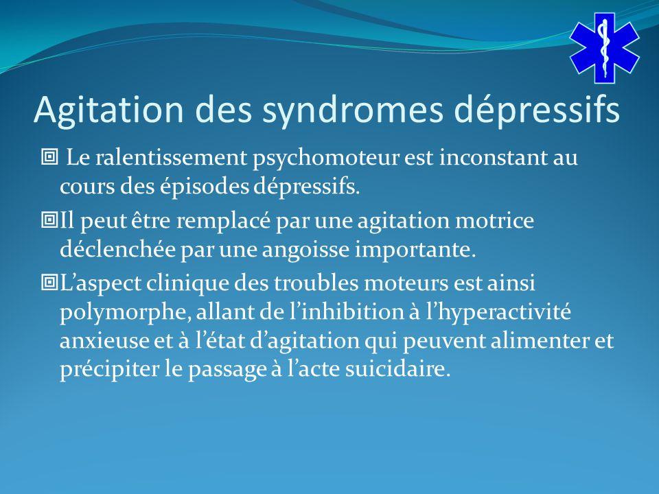 Agitation des syndromes dépressifs Le ralentissement psychomoteur est inconstant au cours des épisodes dépressifs.