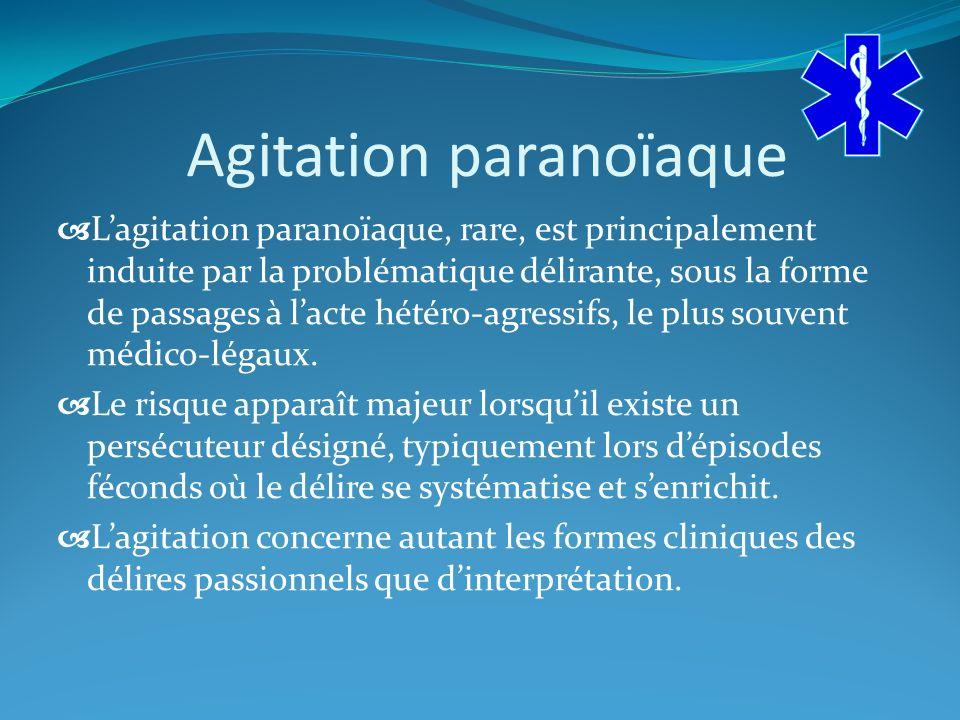 Agitation paranoïaque Lagitation paranoïaque, rare, est principalement induite par la problématique délirante, sous la forme de passages à lacte hétéro-agressifs, le plus souvent médico-légaux.