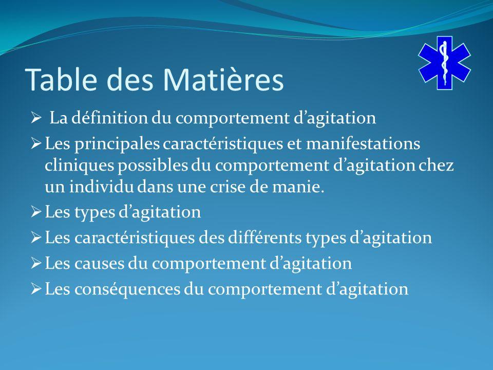 Table des Matières La définition du comportement dagitation Les principales caractéristiques et manifestations cliniques possibles du comportement dagitation chez un individu dans une crise de manie.