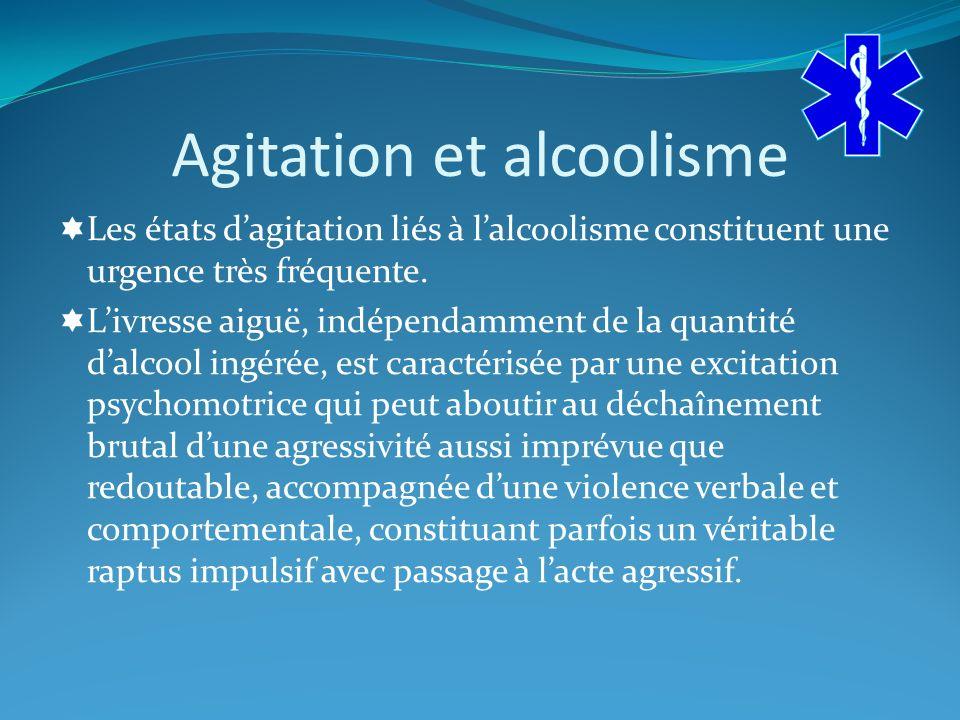 Agitation et alcoolisme Les états dagitation liés à lalcoolisme constituent une urgence très fréquente.