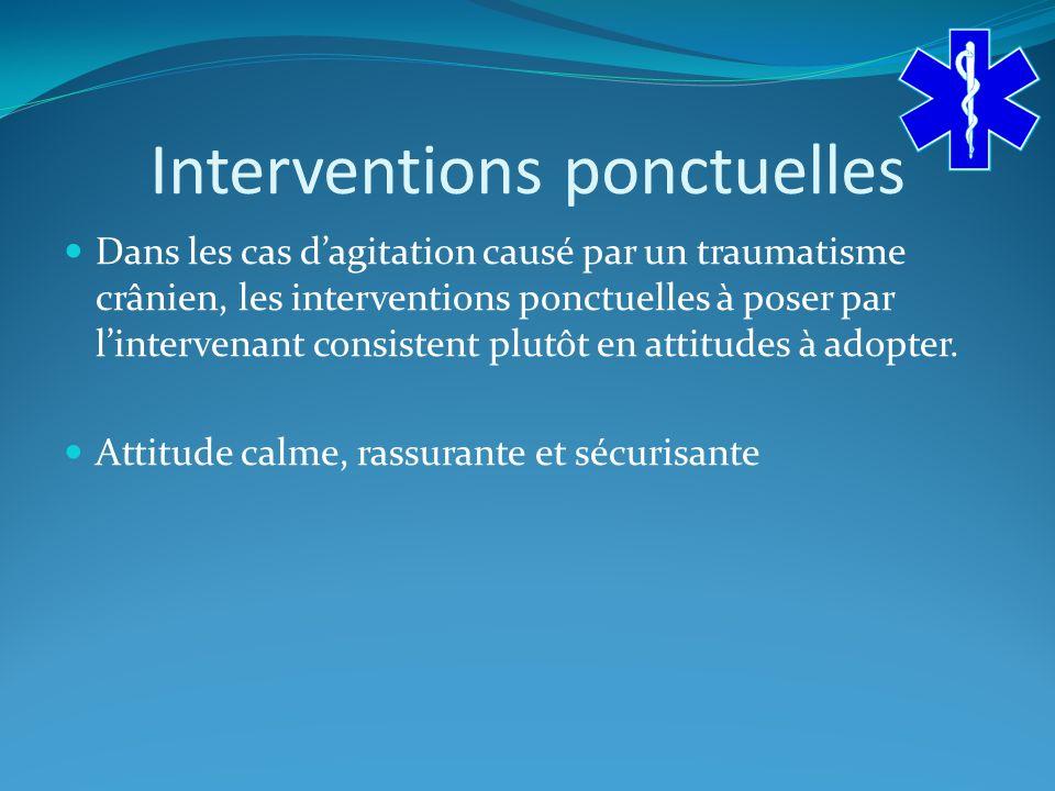 Interventions ponctuelles Dans les cas dagitation causé par un traumatisme crânien, les interventions ponctuelles à poser par lintervenant consistent plutôt en attitudes à adopter.