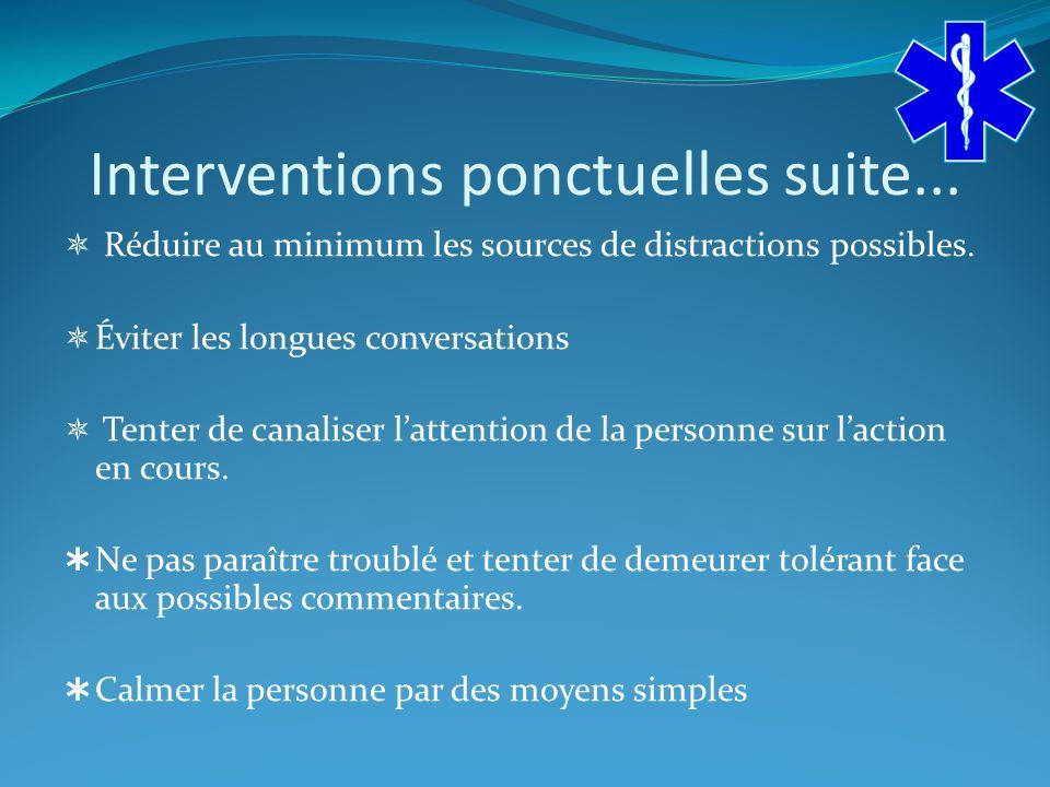 Interventions ponctuelles suite...Réduire au minimum les sources de distractions possibles.