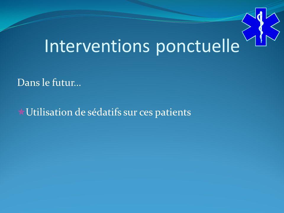 Interventions ponctuelle Dans le futur… Utilisation de sédatifs sur ces patients