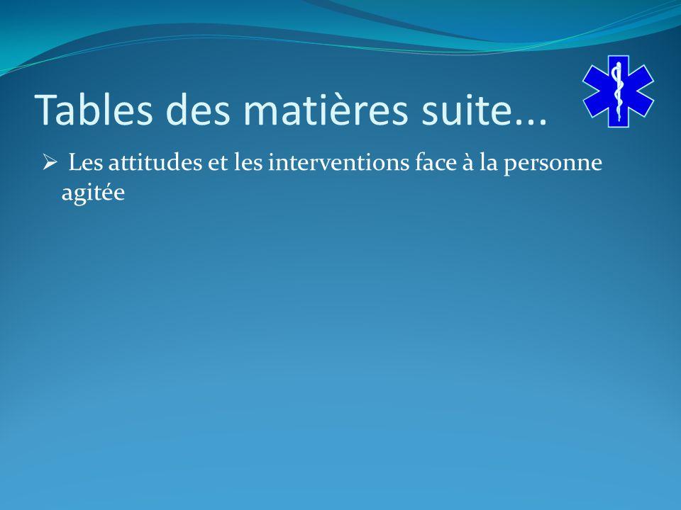 Tables des matières suite... Les attitudes et les interventions face à la personne agitée